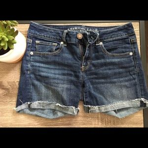 American Eagle midi jean shorts (upper-mid thigh)